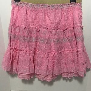 Free People Lined Embroider Pink/Silver Mini Skirt